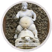 Bacchus Fountain Round Beach Towel