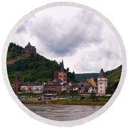 Bacharach Am Rhein And Burg Stahleck Round Beach Towel