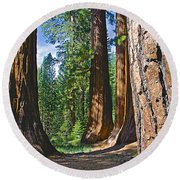 Bachelor And Three Graces In Mariposa Grove In Yosemite National Park-california Round Beach Towel