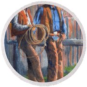 Back At The Ranch Round Beach Towel