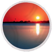 Back Bay Sunset I Round Beach Towel