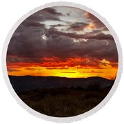 Back Country Sunset Round Beach Towel