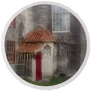 Back Door To The Castle Round Beach Towel