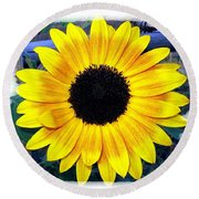 Back Forty Sunflower Round Beach Towel