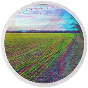 Back Forty - Use Red/cyan Filtered 3d Glasses Round Beach Towel