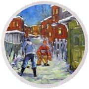 Back Lane Hockey Shoot Out By Prankearts Round Beach Towel