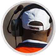 Back Of Mike London Head With Headset Virginia Cavaliers Round Beach Towel