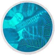 Back Porch Pickin' Pop Art In Blue Round Beach Towel
