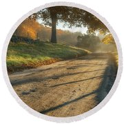 Back Road Morning Round Beach Towel