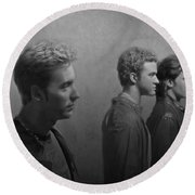 Back Stage With Nsync Bw Round Beach Towel by David Dehner