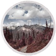 Back To Mountains Round Beach Towel