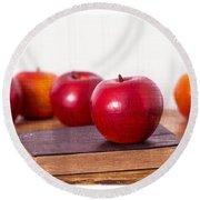 Back To School Apples Round Beach Towel by Edward Fielding