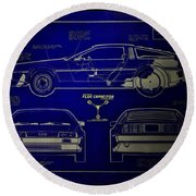 Back To The Future Delorean Blueprint 2 Round Beach Towel