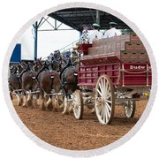 Back View Anheuser Busch Clydesdales Pulling A Beer Wagon Usa Round Beach Towel