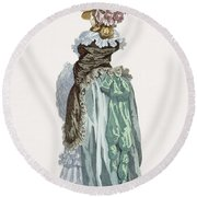Back View Of A Promenade Gown, Engraved Round Beach Towel