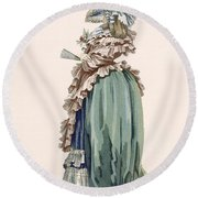 Back View Of Ladys Dress, Engraved Round Beach Towel