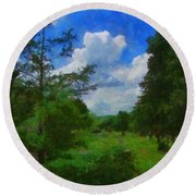 Back Yard View Round Beach Towel by Jeff Kolker