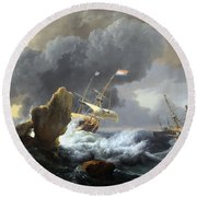 Backhuysen's Ships In Distress Off A Rocky Coast Round Beach Towel