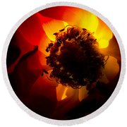Backlit Flower Round Beach Towel by Fabrizio Troiani