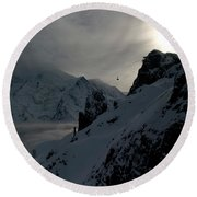 Backlit Skilift In Beautiful Landscape Round Beach Towel