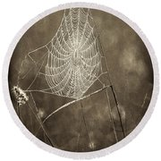 Backlit Spider Web In Sepia Tones Round Beach Towel