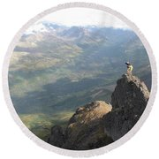 Backpackers Hike In Chugach State Park Round Beach Towel