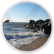 Backwash On Sunset Beach Cape May Round Beach Towel