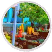 Backyard In Bright Colors Round Beach Towel