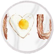 Bacon And Egg Love Round Beach Towel