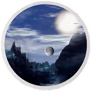 Bad Moons On The Rise Round Beach Towel