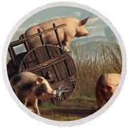 Bad Pigs Round Beach Towel