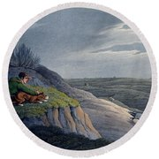 Badger Catching, 1820 Round Beach Towel