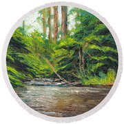 Badger Creek Above The Weir Round Beach Towel