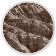 Badlands Light Bw Round Beach Towel