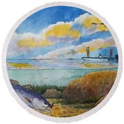 Fishing Baffin Bay Texas  Round Beach Towel