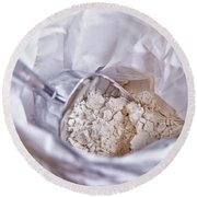 Bag Of Flour With Scoop Round Beach Towel