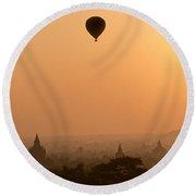 Bagan Sunset - Myanmar Round Beach Towel