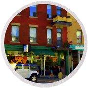 Bagels And Tea St Viateur Bakery And Davids Tea Room Montreal City Scenes Art Carole Spandau Round Beach Towel