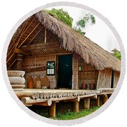 Bahnar Home With Extension As Family Grows At Museum Of Ethnology In Hanoi-vietnam  Round Beach Towel