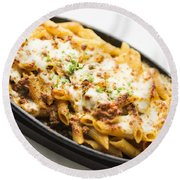 Baked Pasta With Meat And Cheese Round Beach Towel
