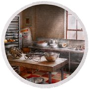 Baker - Kitchen - The Commercial Bakery  Round Beach Towel by Mike Savad
