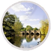 Bakewell Bridge - Over The River Wye Round Beach Towel