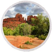 Balance At Cathedral Rock Round Beach Towel
