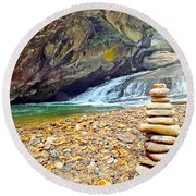 Balanced River Rocks At Birdrock Waterfalls Filtered Round Beach Towel