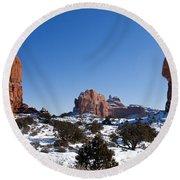 Balanced Rock Arches National Park Utah Round Beach Towel
