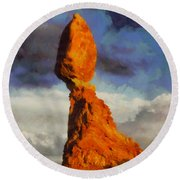 Balanced Rock At Sunset Digital Painting Round Beach Towel