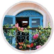 Balcony Blue By Diana Sainz Round Beach Towel