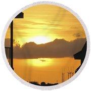 Key West Balcony Sunset Round Beach Towel