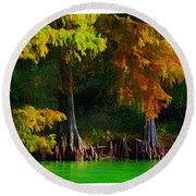 Bald Cypress 3 - Digital Effect Round Beach Towel