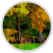Bald Cypress 4 - Digital Effect Round Beach Towel